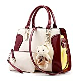 Ryse Womens Fashionable Metal Cute Bear Ornaments Exquisite Handbag Small Wallet(WineRed)