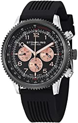 Stuhrling Original Men's 858R.02 Concorso Swiss Quartz Stainless Steel Watch with Black Rubber Band