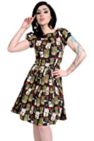 Ladies 50s Retro Vintage Novelty Manekinekos Japanese Lucky Cats Pleated Swing Pin Up Dress