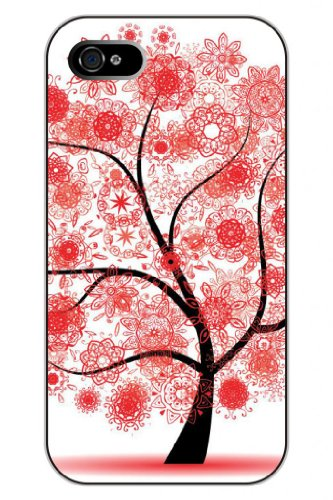 Sprawl Stylish Unique Design Vintage Red Paper Cut Flourishing Flowers Hard Plastic Snap On Iphone 4S Case Tree Of Life front-1058271