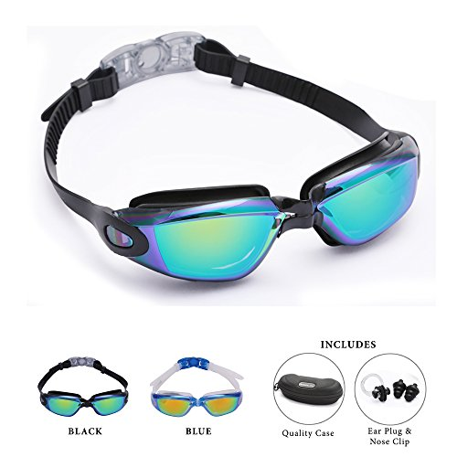 Adult Swim goggles Black by Bezzee-Pro - Anti-Fog Coated Color Mirrored Lens with Leak Proof Eye Cups, Best Pool Glass for Swimming, With Quality Goggle Case, Nose Clip & Ear Plugs (Coloured Fog Lights compare prices)