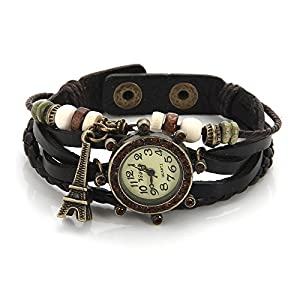 O.R.® (Old Rubin) Dark Brown Genuine Leather Hand Knit Weave Strap Quartz Watch Fashion Vintage Girls Womens Bracelet Dress Watches Wristwatches with Charm The Eiffel Tower Pendant and wood beads - Luxury Coffee crystal around Dial - Cuff Adjustable Metal Stud Surfer Leather Bracelets Wristband - Arabic numerals Vintage Watch Round Dial Analogue Display - Fit up to 18cm Wrist
