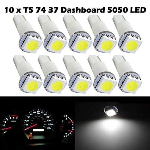Partsam 10X White Led Bulbs T5 70 73 74 For Instrument Dashboard Gauge Speedo Light For 1998 1999 Honda Ev Plus