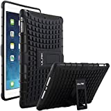 ULAK Impact Resistant Hybrid Dual Layer Case Cover with Built-in KickStand for Apple iPad Air 5th Gen 2013 (Black/Black)