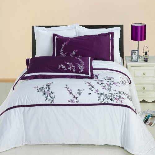 Egyptian Bedding Spring Valley Embroidered 3 Piece Queen Size Duvet Set, 100% EGYPTIAN COTTON