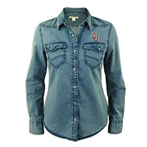 Oklahoma Sooners Ladies Cutter and Buck Long Sleeve Wild Card Denim Shirt by Cutter & Buck