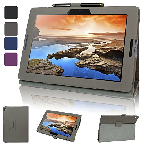 Evecase Lenovo Ideatab A10-70 Case, Slimbook Leather Folio Stand Case With Magnetic Closure For Lenovo Tab A10 / Ideatab A10-70 10.1-Inch Hd Android Tablet - Dark Gray
