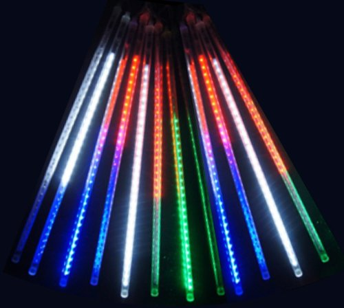 Ledjump Linkable 20 Inch Long Rgbw Multi-Colors Snowfall Meteor Shower Lights 16Ft Wire Extension Set Of 12 Waterproof Transformer