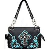 BLack and Turquoise Detailed Cross Conceal and Carry Purse with Rhinestones