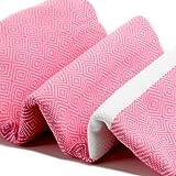 Diamond Pattern Cotton Towel Pestemal White on Candy Pink. Turkish Bath Towel