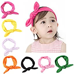 Kingyee Kids Baby Girl Headbands and Bows with Elastic Sets of 8 100% Cotton for Girls