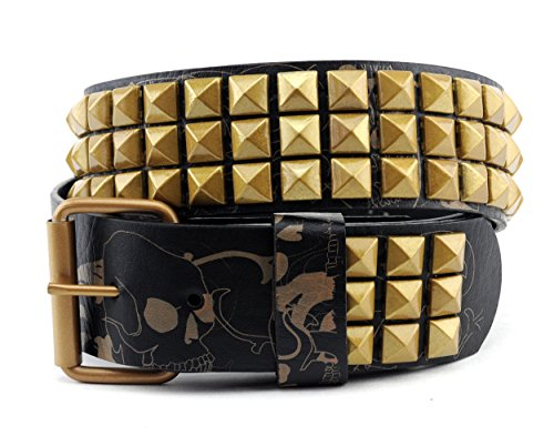 NYfashion101 Pyramid Studded Skull Print Single Hole Genuine Leather Belt X-Large, Gold/Black
