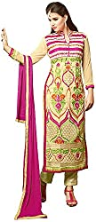Awesome Women's Georgette Unstitched Dress Material (Beige)
