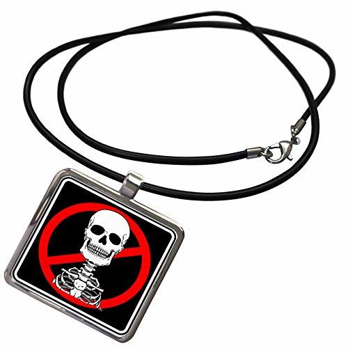 3dRose Mark Grace ZOMBIE SURVIVORS Skeletons - SKELETONS skull 2 black sign 2 - Necklace With Rectangle Pendant (ncl_25045_1)