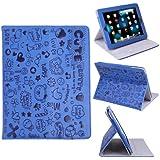HDE Cute Cartoon Folding Leather Folio Case Cover & Stand for Apple iPad 1 (Blue)