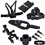 Eggsnow Glove-style Wrist Strap Arm Mount + Chest Strap + Head Strap + WIFI Remote Protection Case w/ Wrist Strap + Handlebar Seatpost Pole + 3 Screws for Gopro Hero 3+ 3 2 1