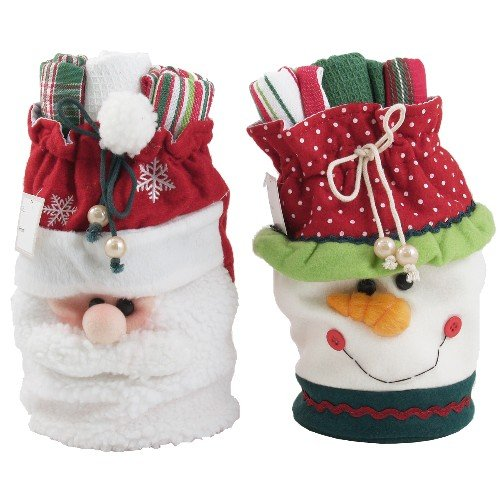 Santa & Snowman Kitchen Towels & Wine Gift Bag Set santa clara