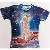 宇宙猫?!かわいい立ち猫Tシャツ XL