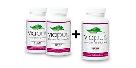 viapur® BEAUTY, Aminosäuren, Mineralstoffe und Vitamine, 2 Dosen + 1 Dose Gratis, ausreichend fur 3 Monate