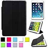 BESDATA Ultra Thin Magnetic Smart Cover [Wake/Sleep Function] & Translucent Back Case for Apple 1st Gen Generation iPad Mini + Screen Protector + Cleaning Cloth + Stylus (Black)