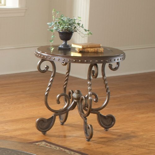 Buy Low Price Bernards Metal Etched Round End Table with Nailheads (B0071B0XR6)