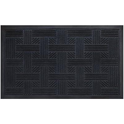 Cross Hatch Doormat By Alpine Neighbor | Low Profile Outdoor Black Door Mat | Washable Cross-Hatch Outdoor Rubber Front Entrance Floor Shoes Rug | Garage Entry Carpet Decor for House Patio Grass Water