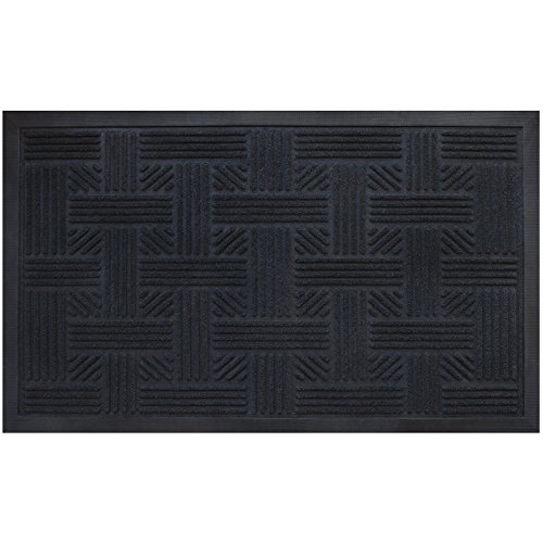 Cross Hatch Doormat By Alpine Neighbor | Low Profile Outdoor Black Door Mat | Washable Cross-Hatch Outdoor Rubber Front Entrance Floor Shoes Rug | Garage Entry Carpet Decor for House Patio Grass Water (Black Outdoor Mat compare prices)