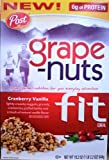 Post, Grape Nuts Fit Cereal, Cranberry Vanilla, 19.2oz Box (Pack of 4)