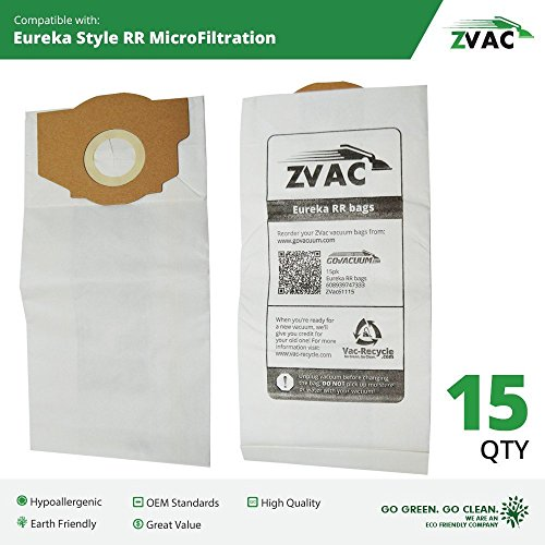 Eureka Type RR Vacuum Bags (15 Pack); Similar To Part 67529; Fits All Bagged Smart Vac Uprights; by ZVac (15 Eureka Rr Bags compare prices)