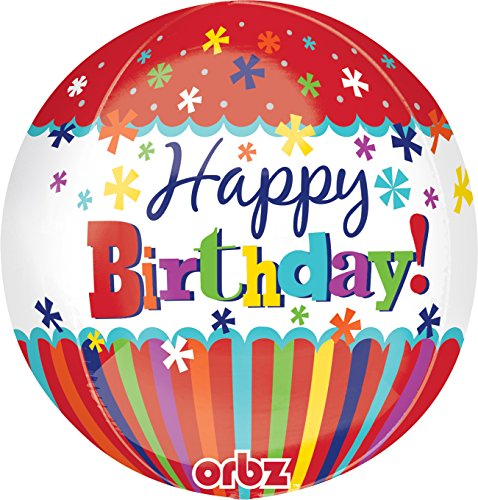 "Anagram International Happy Birthday Stripes Bursts Orbz Balloon Pack, 16"", Multicolor"