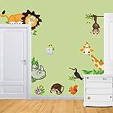 Amazon.co.jpRainbow Fox 動物園 ライオン象 キリンサル ベビールームウォールステッカー インテリア・デコレーション