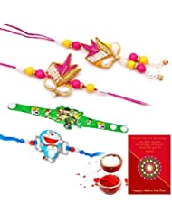 Ethnic Rakhi Designer Colorful Floral Pattern Fashionable And Stylish Bhaiya Bhabhi Mauli Thread And Beads Rakhi... - B01IIMDX7I