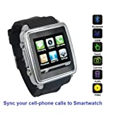 SmartWatch (Black): Smartwatch (Sync calls to iPhones, Android Phones, Bluetooth Phones) with Quad-Band GSM Bluetooth Cell Phone, Music and Video Multimedia Player, FM radio, Camera. (Includes 8GB Micro-SD Memory Card, and Micro/Nano-to-Mini SIM Card Adapters)