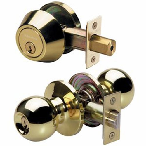 Master Lock BACCON0603 Ball Keyed Knobset with Nightwatch Single Cylinder Deadbolt, Polished Brass