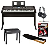Yamaha DGX-650 88-Key Graded Hammer Action Digital Piano (Black) with Headphones, Dust Cover, Piano Bench, and FastTrack Keyboard Method Starter Pack