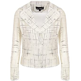 Miss Posh Womens Ladies Woven Blazer Jacket Coat - Cream - 12