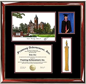 Auburn University Lithograph Diploma Frame with Graduation Tassel Box and 4 x 6 photo... by Framing Achievement Inc University Diploma Frame