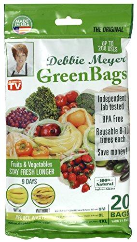 Debbie Meyer GreenBags Freshness-Preserving Food/Flower Storage Bags (Various Sizes, 20-Pack)