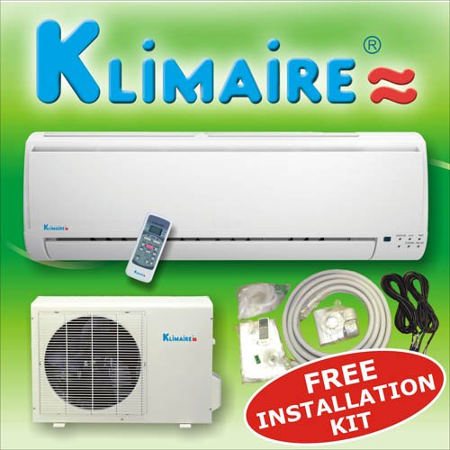 Klimaire 9000 btuh 13 SEER mini split ductless a/c air conditioner & heat pump 115V / 60Hz with free installation kit