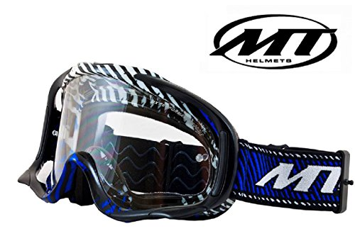 MOTORBIKE MT MX PRO III ADULT GOGGLES Motorcycle Motocross Off Road Enduro Moto X Goggles (BLACK/BLUE)