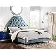 Iconic Home Nero Bed Frame with Wingback Headboard Velvet Upholstered Button Tufted Silver Nail Head Trim Stainless Steel Metal Legs, Modern Transitional, King, Slate Blue