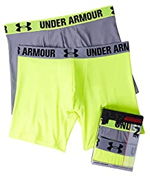 Under Armour Men\'s HeatGear 6-inch Boxerjock - 2 Pack, High Vis Yellow/Steel, Large