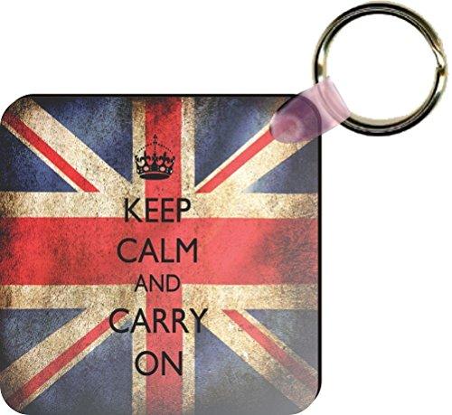 Rikki KnightTM Keep Calm & Carry On British Flag Square Key Chains (Set of 2)