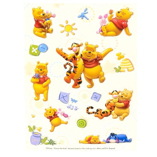 Pooh Raised Sticker Sheet Party Accessory