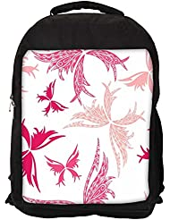 """Snoogg Big Unique Butterfly White Pattern Casual Laptop Backpak Fits All 15 - 15.6"""" Inch Laptops"""