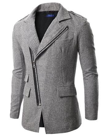 Doublju_uk Mens Casual Strap Zipup Half Jacket GREY (D07)