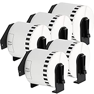 5x Continuous White Standard Adress Labels compatible to BROTHER DK22205 Thermal Paper Roll | 62mm x 30,48 m | suitable for Brother P-Touch QL 500 Series / 500 / 500A / 500BS / 500BW / 550 / 560 Series / 560 / 560VP / 560YX / 570 / 580 Series / 580 / 580N / 650TD / 700 / 710W / 720NW / 1000 Series / 1050 / 1050N / 1060N