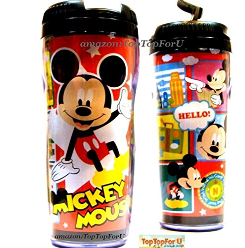 Leak Proof Disney Mickey Mouse Plastic Double Wall Thermos Travel Drinkware Mug Cup 13-Ounce