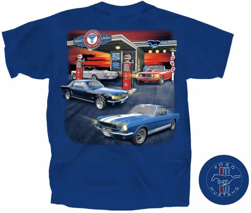 Ford Mustang Retro Gas Station Men's T-Shirt (FMFGS-U-XL) (Gas Station Shirt compare prices)