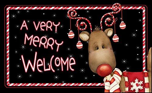 Toland Home Garden Candy Cane Reindeer 18 x 30-Inch Decorative USA-Produced Standard Indoor-Outdoor Designer Mat 800114
